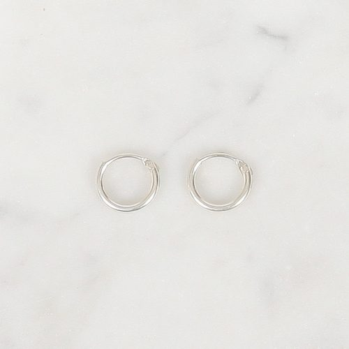Tiny Silver Hoops 8 mm, Tiny Silver Hoops 9 mm, Tiny Silver Hoops 10 mm