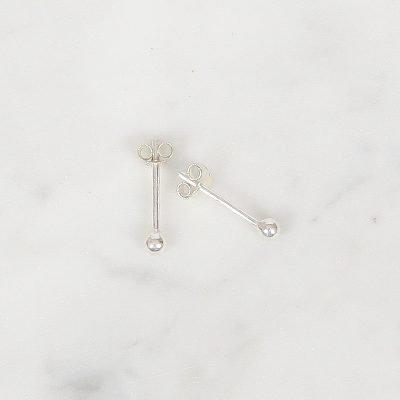 Tiny Silver Ball Studs 3 mm, Tiny Zilver Ball Studs 3 mm