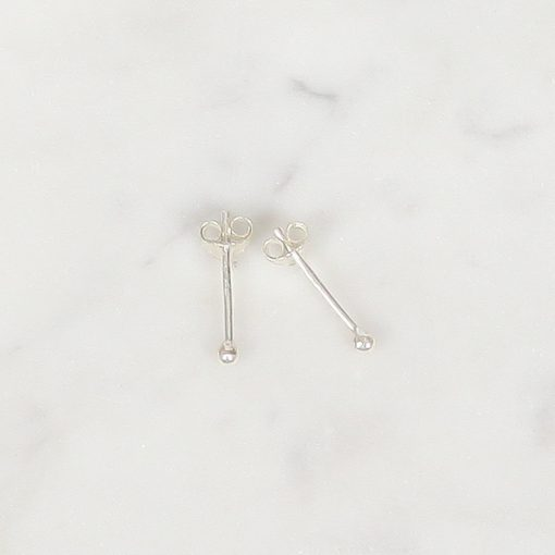 Tiny Zilver Ball Studs 2 mm, Tiny Silver Ball Studs 2 mm